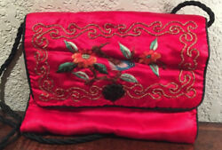 Red Hook and Loop Womens Shoulder Bag Purse Clutch Floral Design w Bird b10