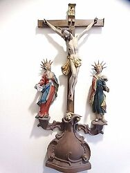 Spanish Colonial Wood Carved Santos Crucifix Jesus And Saints John And Mary Museum