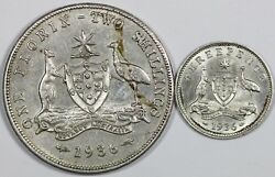 Australia. 1936 3d And 2/-, Good Extremely Fine Or Better 2 Coins