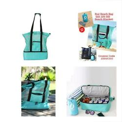 Summer Beach Tote Lightweight And Foldable Bag With Built-In Cooler Large Mesh