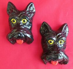 Vintage Scottish Terrier Chalkware Dog Heads Wall Plaques