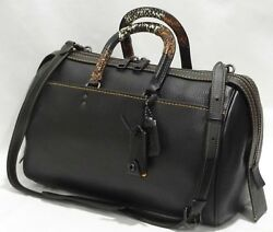 COACH 58689 Patchwork Snake Handle Rogue 36 Satchel Crossbody Bag Black $1300