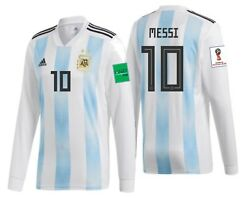 Adidas Lionel Messi Argentina Long Sleeve Home Jersey Fifa World Cup 2018 Patch