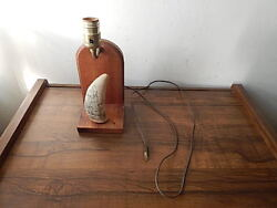Vintage Resin Replica Whale Tooth Scrimshaw Lamp No Bulb Or Shade Intrntnal Sale