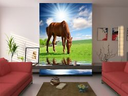 3d Horse Lawn River 83 Wallpaper Mural Wall Print Wall Wallpaper Murals Us Lemon