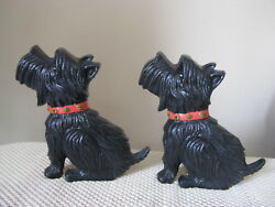 2 Cast Iron Red Collared Black Scottish Terrier Scottie Dog Book Ends Bookends