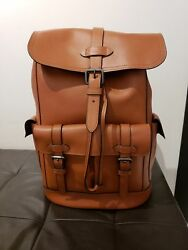 NEW COACH HUDSON MEN'S BACKPACK in Natural Brown Leather NWT