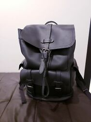 NEW COACH HUDSON MEN'S BACKPACK in Natural Black Leather NWT