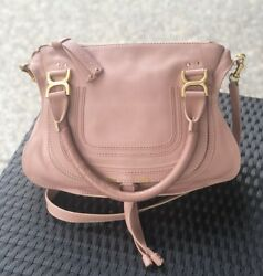 UEC! Auth Chloe Marcie Rose Anemone Pink Medium Handbag 2Way Satchel