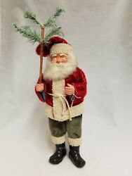 Vintage 1920and039s Santa Woodcutter Paper Mache Mohair Lambswool Candy Container 12