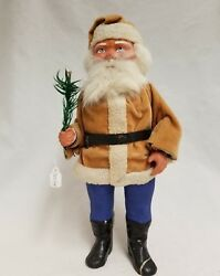 Vintage 1920and039s Santa Woodcutter Paper Mache Candy Container Light Orange 10