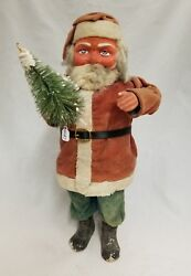 Vintage 1920and039s Santa Woodcutter Paper Mache Candy Container 15