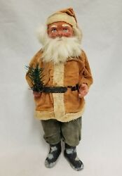 Vintage 1920and039s Santa Woodcutter Paper Mache Candy Container 12