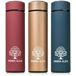 Manna Alive Stainless Steel Vacuum Thermos Water Bottle 16 Oz