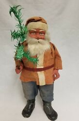 Vintage 1920and039s German Santa Woodcutter Paper Mache Candy Container 14