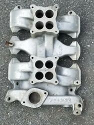1953-63 Oldsmobile 303 324 Weiand 04d Dual Quad Manifold Rare Early Version