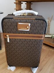 MK Michael Kors Signature Travel Trolley Luggage- Brown  NWT