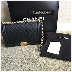 AUTH NEW 2015 CHANEL HANDBAG BAG BOY OLD LARGE BLACK GOLD HARDWARE RECEIPT 15C