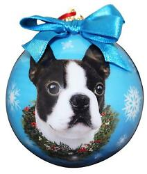 Boston Terrier Christmas Ornament Shatter Proof Ball Easy To Personalize A Gift