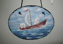 Original Hand Painted  2 Westie West Highland Terrier in sail boat slate  Ann