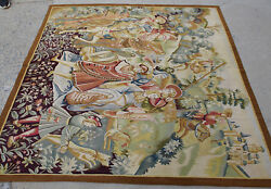 5.9and039 X 6.1and039 Aubusson Hunting Scene Tapestry Castle Horses Bow Arrow Vtg Handmade