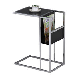 Pilaster Designs - Printed Glass And Accent Snack Table With Magazine Rack