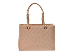 Authentic Chanel Women's Caviar Leather Tote Bag Beige 806500007903000