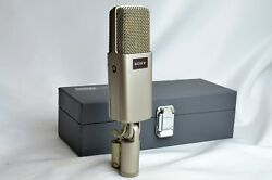 1980'S SONY C-48 Condenser Microphone Mic & Mic Case & Stand Adapter