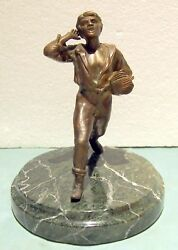 News Paper Seller Old Bronze On Marble Base Height =10 7/8