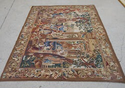 6.3' X 5.3' Antique Dancing Party Scene Aubusson Busy Tapestry Palace Hand Woven