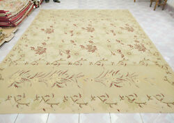 8and039 X 10and039 French Countryside Aubusson Rug Flat Weave Shabby Chic Maple Leaves