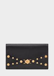 $1825 NEW Versace Tribute Evening Clutch Medusa Medallion Black Leather Bag