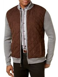 New Tasso Elba Menand039s Quilted Front Full Zip Steel Baseball Jacket Cardigan L