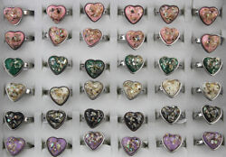 Job Lots 30pcs Stainless Steel Rings Ladyand039s Gifts Mixed Jewelry Heart Resin Ring