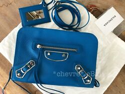 NEW BALENCIAGA REPORTER CROSSBODY CLUTCH METALLIC EDGE CITY SMALL TURQUOISE BLUE