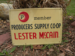 Rare Vintage 1960s Idaho Producers Supply Co-op Member Sign Lester McCain Farm