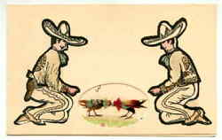 1945 Xmas Card Depicting Mexicans and Fighting (Game) Cocks Real Feathers