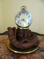 Except. Antique Big Crystal Ball Clock On Carved Dragon Base- New Lower Price