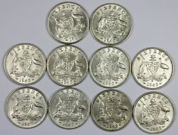 Australia 1942 D Sixpence About Uncirculated To Uncirculated 10 Coins
