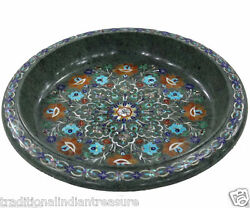 14 Green Marble Fruit Bowl Pietra Dura Mosaic Marquetry Home Decor Arts Gifts