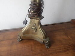 Antique 33 Inch Tall Heavy Brass Footed Lamp With Faces International Sale