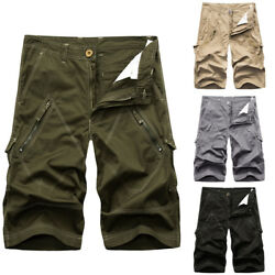 Summer Men Casual Military Tooling Shorts Multi Bag Cotton Loose Beach Shorts DS