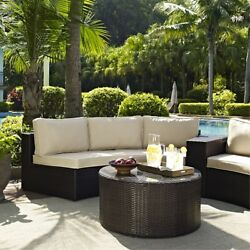 Catalina 4 Piece Outdoor Wicker Seating Set With Sand Cushions - Two Round Se...