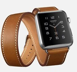 Brand New Sealed Hermes 38mm Double Tour Apple Watch Fauve Barenia Brown Tan