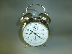 Exc. Vintage German Double Bell Mechanical Wind Up Alarm Clock Watch The Video