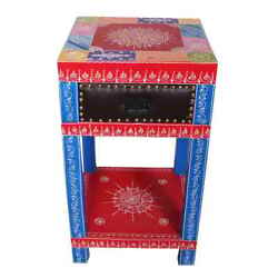 Indian Moroccan Handpainted Mango Wood Drawer End Table night stand bedside tabl