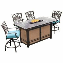 5-piece High-dining Bar Set In Blue With 30,000 Btu Fire Pit Bar Table