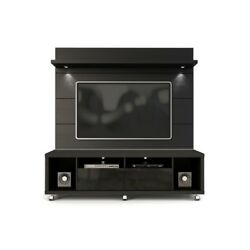 Cabrini Tv Stand And Floating Wall Tv Panel With Led Lights 1.8 In Maple Crea...