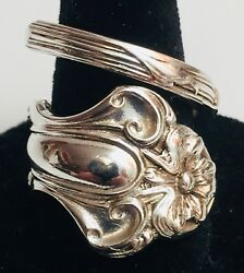 Vintage 1800andrsquos Handmade Sterling Silver Flower Blossom Spoon Ring Size 7