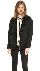 New Free People Slouchy Jacket With Faux Fur Collar M
